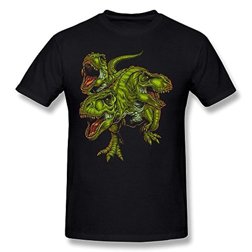 詐欺受け入れ服を片付ける顔春 メンズ 2016 夏 緑の恐竜 半袖Tシャツ