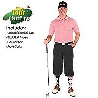 Golf Knickers メンズ アウトフィット - ブラックマイクロファイバー 限定版 ボールキャップ ふくらはぎ上アーガイルソックス ピンクゴルフシャツ 28