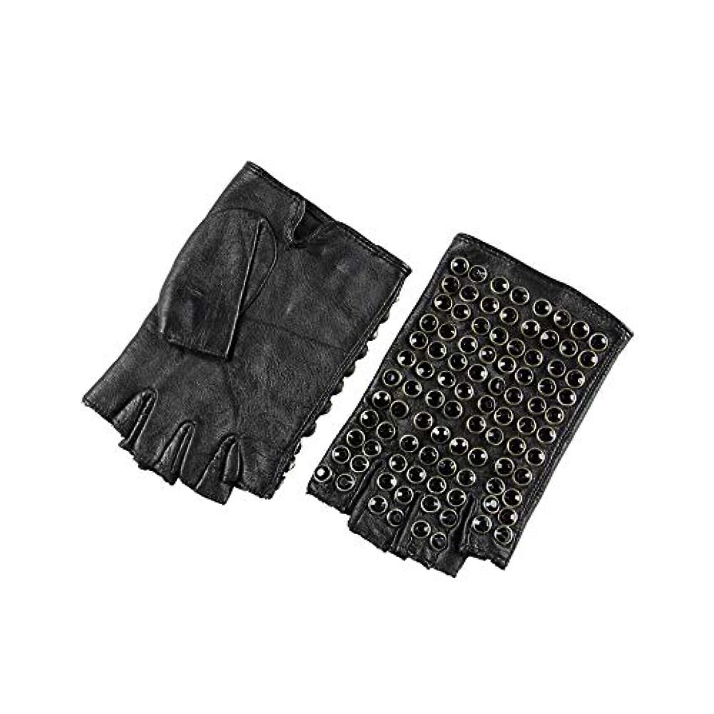 そう描写導出BAJIMI 手袋 グローブ レディース/メンズ ハンド ケア ファッション女性の革の手袋ハーフフィンガーパンクドライビンググローブ 裏起毛 おしゃれ 手触りが良い 運転 耐磨耗性 換気性