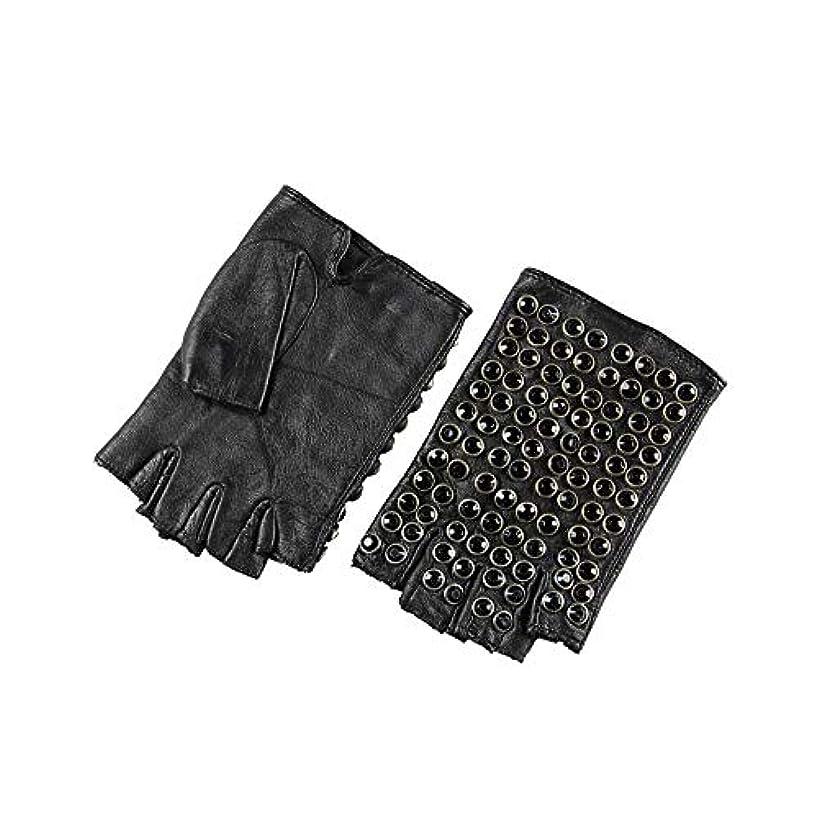脊椎移動する野菜BAJIMI 手袋 グローブ レディース/メンズ ハンド ケア ファッション女性の革の手袋ハーフフィンガーパンクドライビンググローブ 裏起毛 おしゃれ 手触りが良い 運転 耐磨耗性 換気性