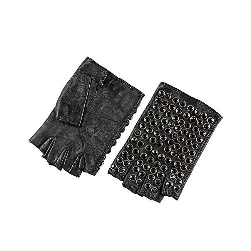 面白いライセンス乱気流BAJIMI 手袋 グローブ レディース/メンズ ハンド ケア ファッション女性の革の手袋ハーフフィンガーパンクドライビンググローブ 裏起毛 おしゃれ 手触りが良い 運転 耐磨耗性 換気性