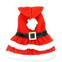 SMALLLEE_LUCKY_STORE Small Dog Clothes for Girls Boys Cat Dog Christmas Costume Hooded Fur Trim Dress Belt Decorated Winter, Small, Red
