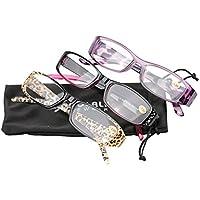 SOOLALA 3-Pairs Womens Designer Spring Hinge Rhinestone Lightweight Reading Glasses