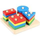 MARCELEN 人気 子供の教育玩具 幾何学ソーターボード玩具 木のおもちゃ キッズ幼児子供積み木 パズル ビルディングブロックのおもちゃ