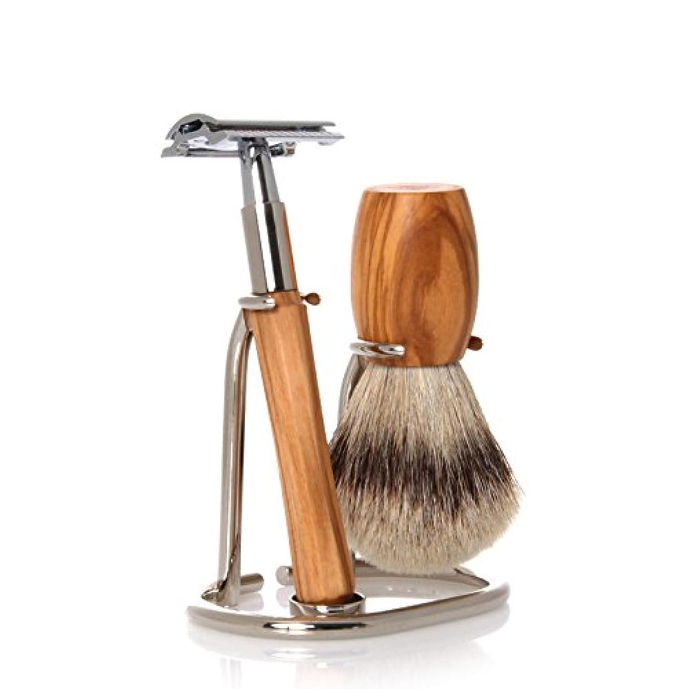 マディソン活気づけるイーウェルGOLDDACHS Shaving Set, Safety razor, Silvertip, olive wood