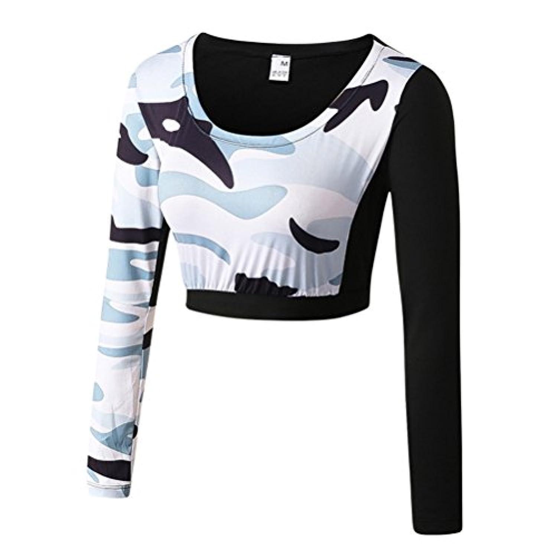 Zhhlinyuan Fashion Camouflage Long Sleeve Sports Fitness Tops レディーズ Tight クイックドライ Training Yoga Activewear