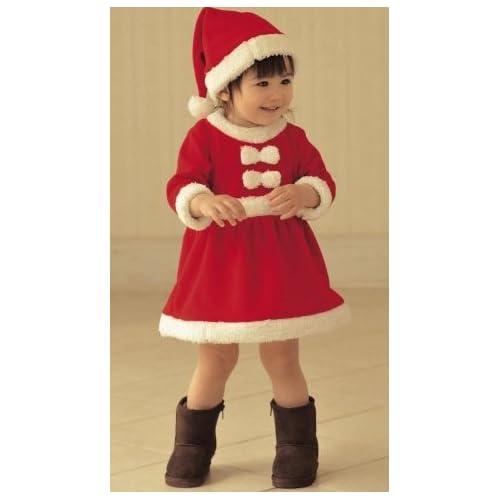 お子様 サンタ サンタクロース クリスマス コスプレ 衣装 子供 女の子 90cm