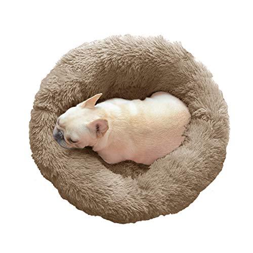Skazi ペット用 ベッド クッション 猫 小型犬 シャギー素材 毛抜きにくい ふわふわ 柔らかい 伸縮性ある崩れにくい 洗える 冬用 あったか ペットベッド(直径50㎝+高さ18㎝ ブラウンベージュ)