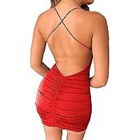 Angelegant Clubwear for Women Spaghetti Strap Sexy Bodycon Backless Mini Dress