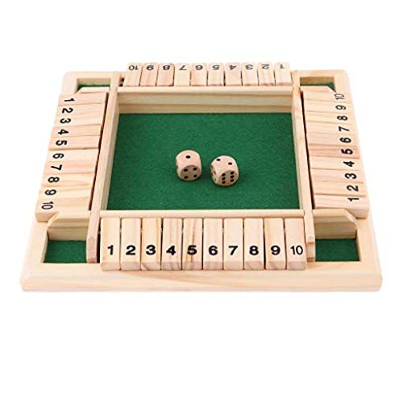 リングレット望み診断するKUQIQI 4つの両面10個の数字は、子供と大人の誕生日飲酒プロップKTVのパブバーパーティーボードゲームのためのボックスボードゲームをシャット, チェス
