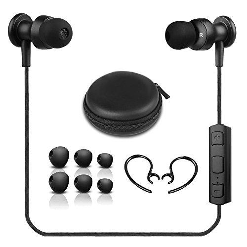 OneOdio Bluetooth 4.1 イヤホン ステレオ 防汗防滴 マイク内蔵式 耳掛け式 ワイヤレスイヤホン ランニング用 スポーツ イヤホン【メーカー1年保証】 (ブラック)
