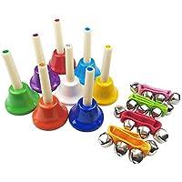 ミュージックベル キッズ 玩具 幹音8音 打楽器 ガラガラ レストラン 贈り物など利用できます 8色セット(ハンドベル 4個 )幼児楽器 知育玩具 贈り物 ガラガラ くじ引き レストラン ホテル 受付けなど利用できます