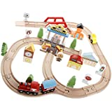 Perfeclan 電車おもちゃ ミニ列車セット 木製 早期教育玩具 分解できる 雰囲気アップ 子供 幼児 ごっこ遊び