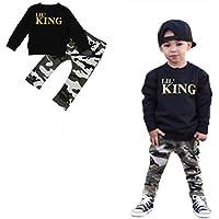 Lil' King 英語文字 2点セット(上着+パンツ) 男女兼用 子供服 男の子 赤ちゃん服 幼児 女の子 長袖 5サイズ キッズ服 80CM-90CM-100CM-110CM-120CM(1歳-5歳) (120CM/5歳, 写真のように)