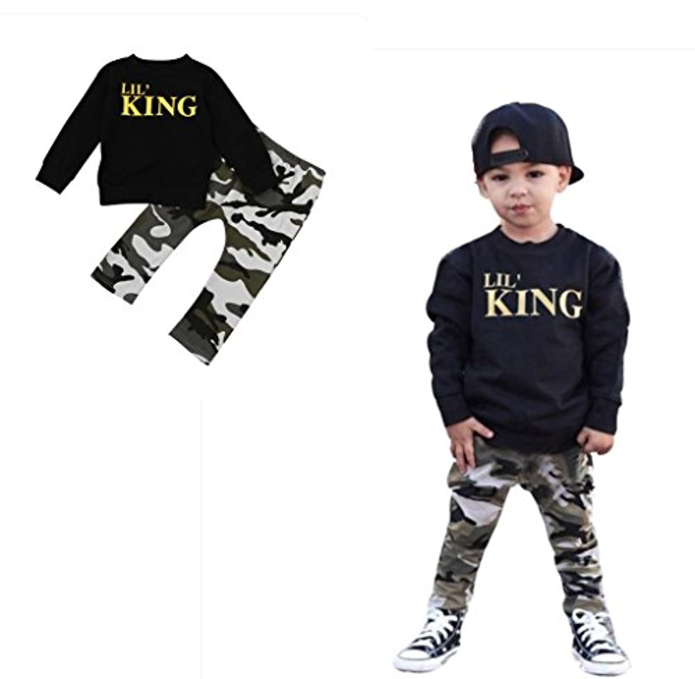 Lil' King 英語文字 2点セット(上着+パンツ) 男女兼用 子供服 男の子 赤ちゃん服 幼児 女の子 長袖 5サイズ キッズ服 80CM-90CM-100CM-110CM-120CM(1歳-5歳) (90CM/2歳, 写真のように)