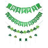 Xunlong 3セット ハッピーセントパトリックデーとシャムロッククローバーバナーデコレーション 6個のカップケーキトッパー付き 聖パトリックの祝日 アイルランドのパーティー装飾用品