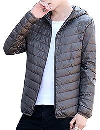 Femaroly男性クラシックウィンタージャケットフード付きパッキン軽量ダウンコートアウターウェア
