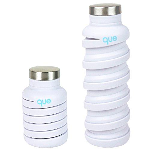 que Bottle 伸縮自在 オシャレでキュートな環境にもやさしい ドリンクボトル 日本正規品  (Lサイズ(600ml), ホワイト)
