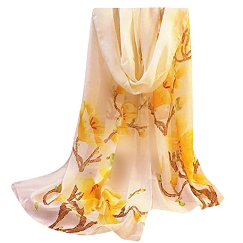 嬉しいですボクシングおばさんDourabbi ファッション レディース 女性 花 プリント ショール シフォン スカーフ