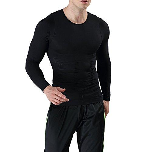 LeoSport 加圧インナー メンズ 長袖 脂肪燃焼 補正下着 猫背矯正 姿勢矯正 着圧 コンプレッションウェア 加圧シャツ (ブラック, L)