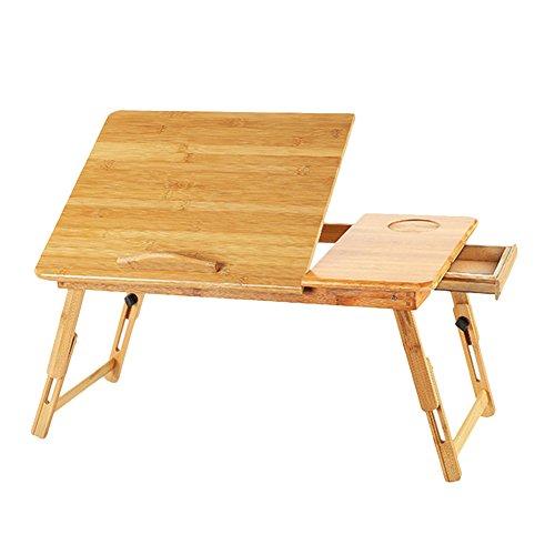 ノートパソコンデスク PCスタンド 竹製 ベッドテーブル ソファーテーブル 角度 高さ調節可 折りたたみ式 引き出し付き 14インチノートパソコン対応スタンド 読書机 勉強机 多機能 ローテーブル A型