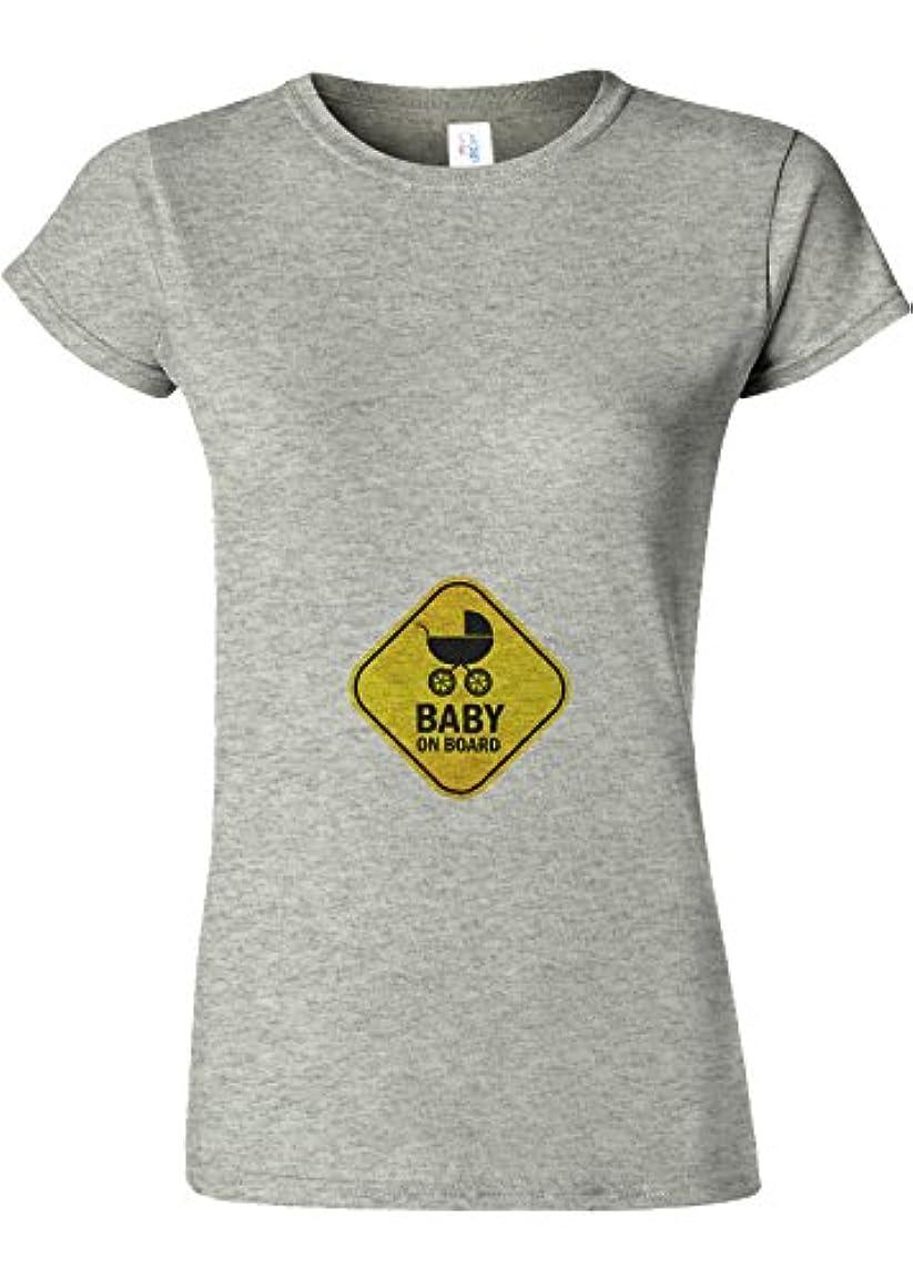 不当腐食する繊毛Baby On Board Pregnant Surprise Novelty Sports Grey Women T Shirt Top-L