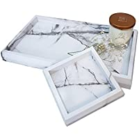 Roomfitters Marble Print Vanity Tray Cosmetic Jewelry Storage Handmade Rectangle Ottoman Catchall Tray, White Set