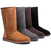 HomeWork&Play UGG Boots Tall Classic - 100% Premium Double Faced Australian Sheepskin,Non-Slip