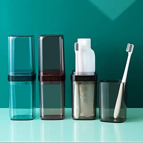 Decdeal 歯ブラシケース 歯ブラシコンテナー 便利ボックス 携帯 軽量 ポータブル プラスチック製 歯磨き粉 歯ブラシ 電動歯ブラシ タオル収納 旅行や出張など携帯便利
