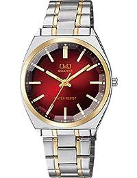 [シチズン キューアンドキュー]CITIZEN Q&Q 腕時計 アナログ クラシック 日常生活防水 ブレスレット コンビ レッド シルバー QB78-402 メンズ