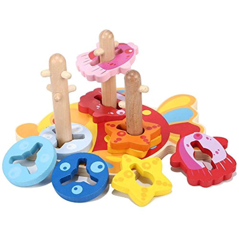 Snow Shop木製シェイプ 積み重ねブロック 分類作成 発達 パズルボード 赤ちゃん 幼児 おもちゃ