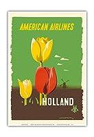 オランダ - アメリカン航空 - チューリップ - ビンテージな航空会社のポスター によって作成された エドワード・マックナイト・コウファー c.1948 - アートポスター - 33cm x 48cm