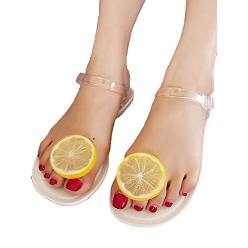 (ラウンドアース レディース) Round Earth Ladies 大きいサイズあり クリアラバーサンダル レモンの輪切りがスーパーキュート! フラットタイプ&アンクルストラップで歩きやすさ抜群 37(23.5) ホワイト