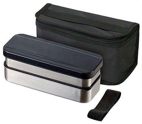 KSTPW7P ステンレスかぶせ二段ランチボックス バッグ付き 740ml ブラック