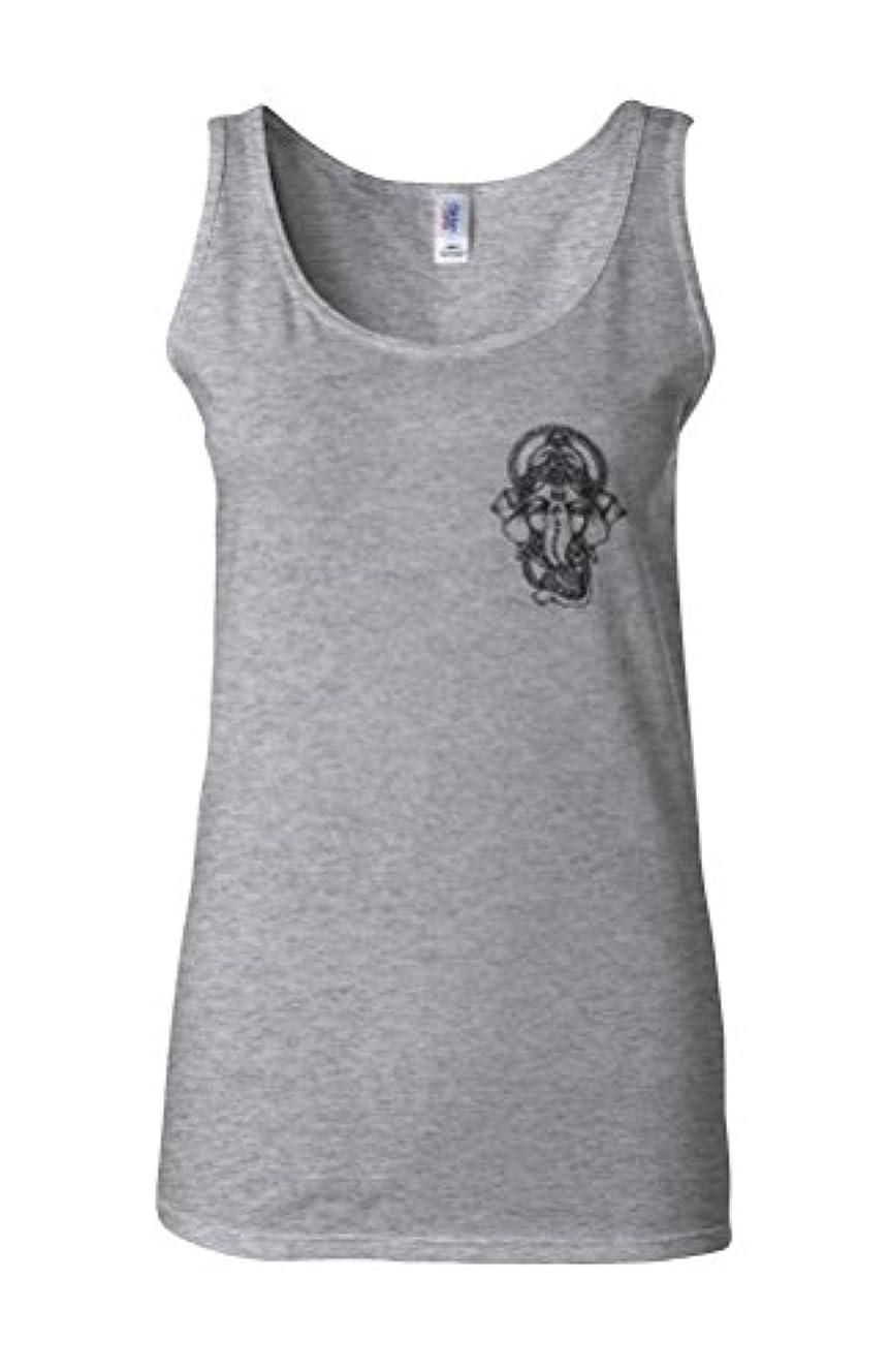 チケットアプト平らにするGanesh Elephant God Line Art Hindu Yoga Novelty Sports Grey Women Vest Tank Top-M