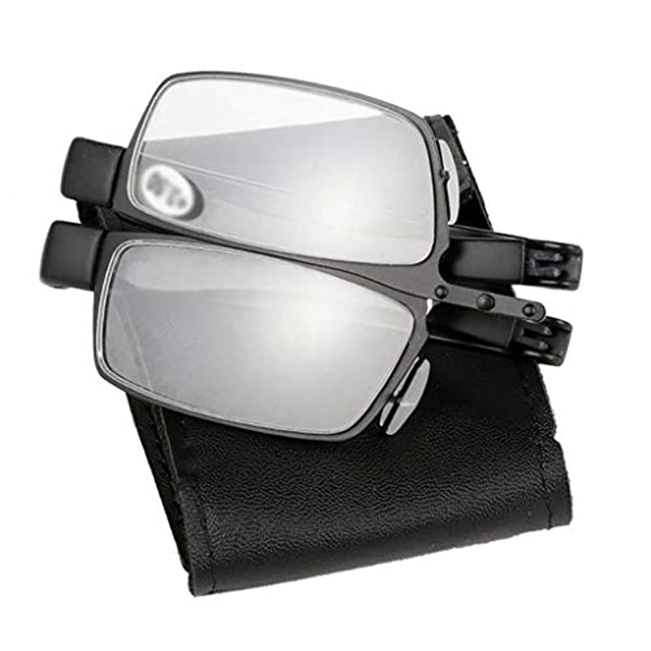 任意ギター選択するYiYi老眼鏡 クラシック折りたたみ老眼鏡、老人用メタルポータブルリーダー、メガネバッグ(ブラック、+ 1.0?+ 3.0)
