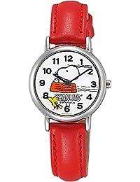 [シチズン キューアンドキュー]CITIZEN Q&Q 腕時計 スヌーピー アナログ 日常生活防水 革ベルト レッド P003-324 ガールズ