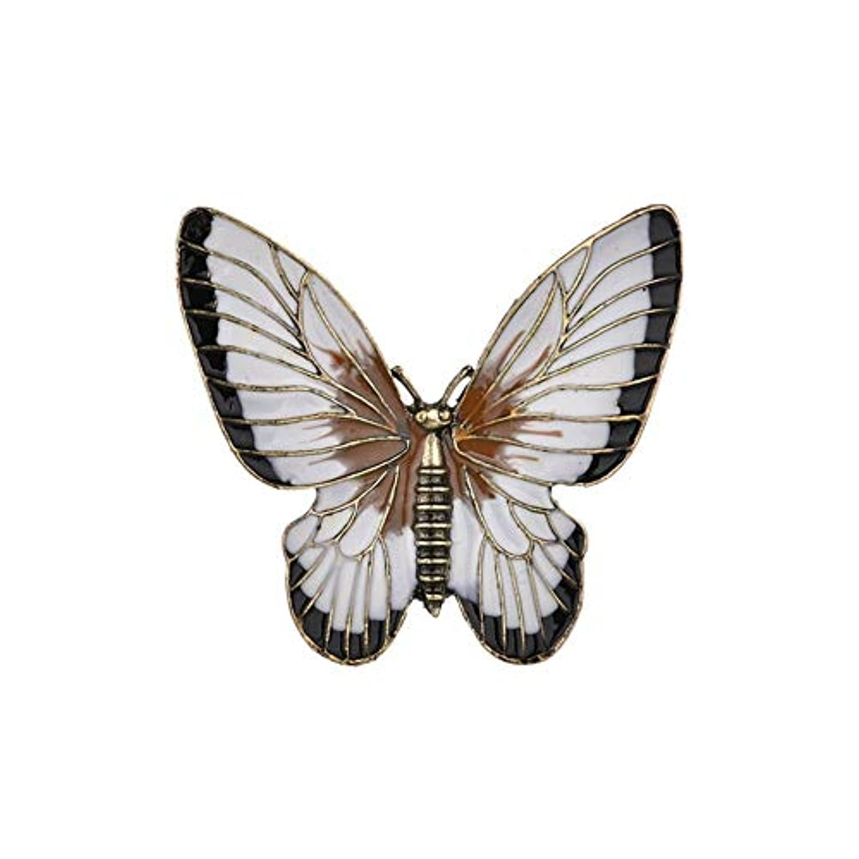 SKZKK昆虫エナメルラペルピンブローチとピン女性用釉薬白い蝶ジュエリー用女性コサージュスカーフクリップハンドポリッシュ