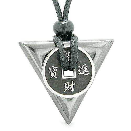 Amuletラッキーコインチャーム三角形ピラミッドPowersヘマタイトSpiritual Good Luckエネルギーペンダントネックレス...