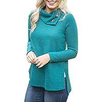 Misaky women top Women's Pullover 2017 Fall Turtleneck Button Sweatshirt Tops
