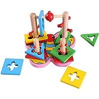 HuaQingPiJu-JP 木製の蝶のビルディングブロックコラムベビージオメトリ認知マッチングおもちゃクリエイティブギフト