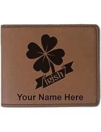 フェイクレザー財布 – Irish Clover – カスタマイズ彫刻Included (ダークブラウン)