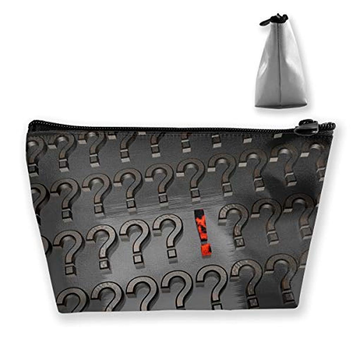 橋側麻痺させる台形 レディース 化粧ポーチ トラベルポーチ 旅行 ハンドバッグ 疑問符プリント コスメ メイクポーチ コイン 鍵 小物入れ 化粧品 収納ケース