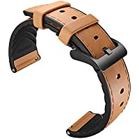 Ticwatch Pro Leather Watch Band Accessory Watch Strap for Ticwatch pro Stylish 22mm (Light Brown)