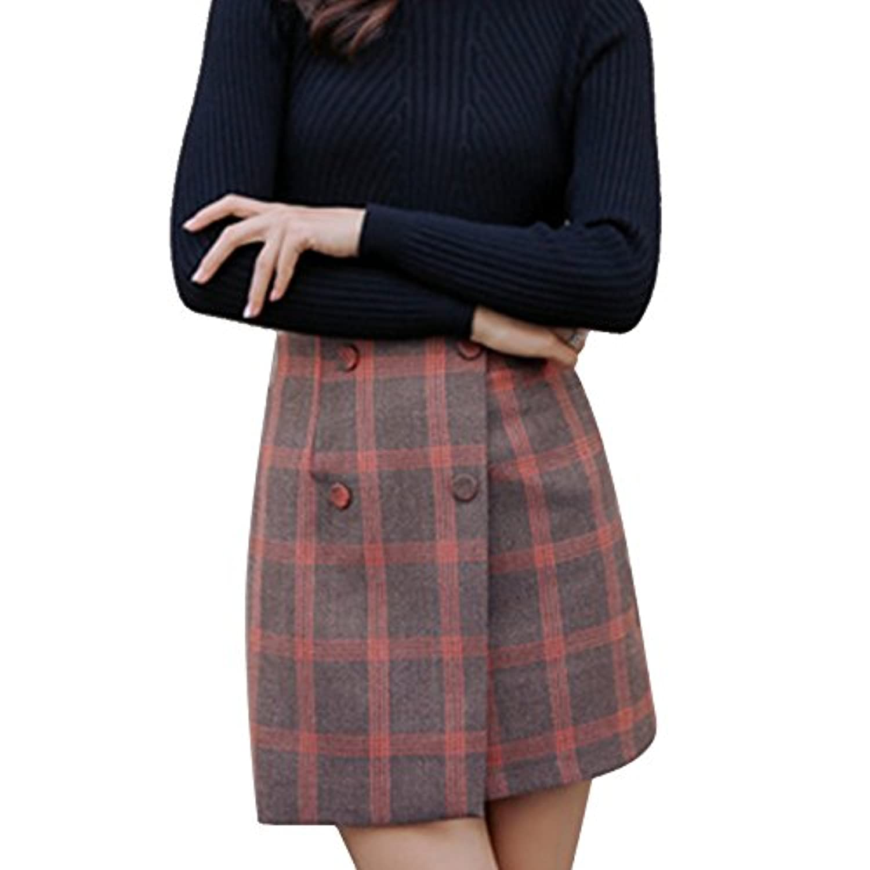 Wunes(TM)?妊娠中の女性のためのブランドの新しい格子縞プリントミニマタニティスカート2色利用可能なサイズM-XL