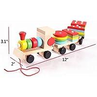 iBestスマートホイールStacking Train and Pull Wooden Train色認識インテリジェンスおもちゃ
