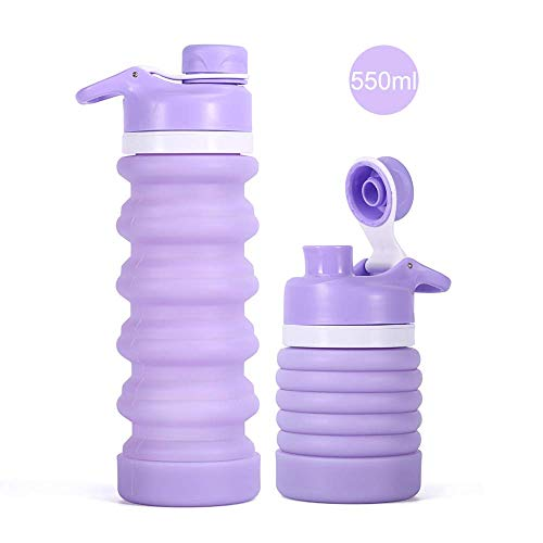 iKiKin 折りたたみ式ウォーターボトル、BPAフリ、FDA認証食品級シリコン製、漏れ防止、エコ材、無毒無臭、550ml/20Oz (紫)