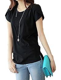 ELPIS レディース ファッション 半袖 Tシャツ 春 夏 薄手 コットン ラウンドネック 花びらスリーブ 無地 シンプル 各5色 S M L XL 2XL 3XL 4XL サイズ