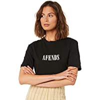 Afends Women's Womens Lithium Fashion Fit Tee Crew Neck Cotton Pu Black