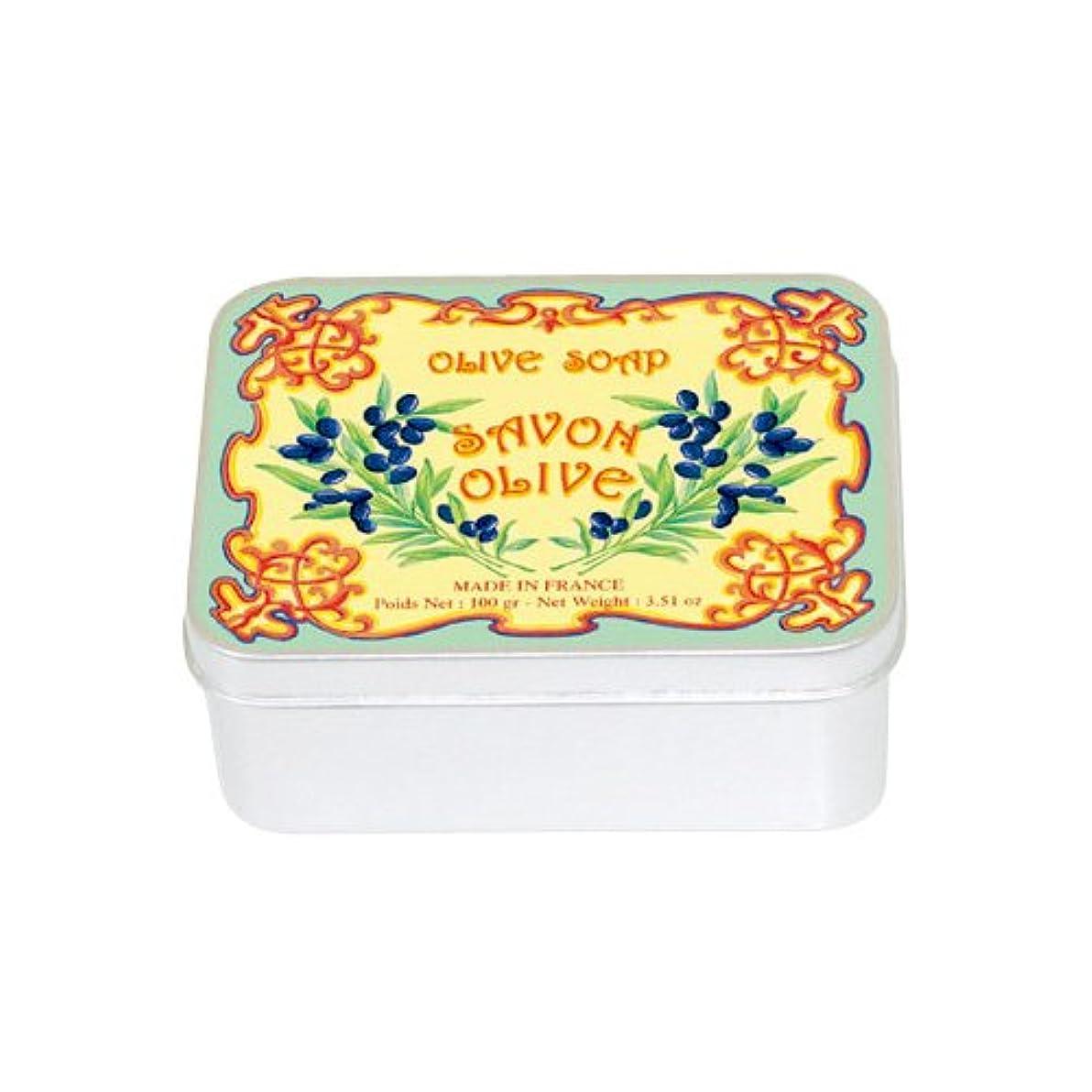 優雅なテープ修士号ルブランソープ メタルボックス(オリーブの香り)石鹸